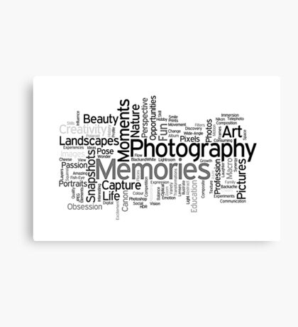 Photography Word Art 5 Canvas Print