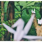 origami bird in nature by fahad23