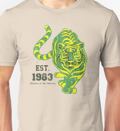 (FOR LIGHT COLORED SHIRTS & Stickers) MOTU Battle Cat He-man Cringer 1983 Tiger Green Yellow Stripes Cartoon Action Figure 80s Baby BEST FOR LARGE POUCHES Unisex T-Shirt