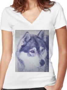Beautiful husky dog portrait Women's Fitted V-Neck T-Shirt