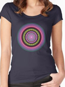 Colourful Mandala with tribal patterns Women's Fitted Scoop T-Shirt