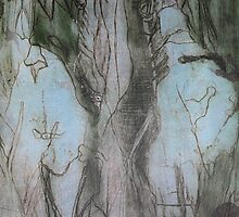 Drypoint Etching: Two Figures Multilayered by Marion Chapman