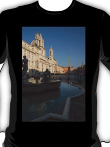 Roman Morning - Shadow and Light on Piazza Navona, Rome, Italy T-Shirt