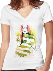 Fashion illustration with pink hair and green stripes Women's Fitted V-Neck T-Shirt