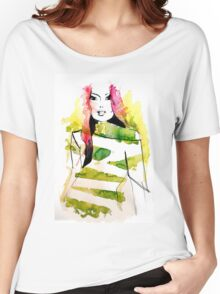 Fashion illustration with pink hair and green stripes Women's Relaxed Fit T-Shirt