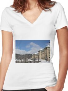 Lake Louise Chateau  Women's Fitted V-Neck T-Shirt