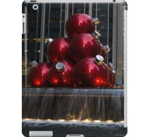 A Christmas Card from New York City - Manhattan Skyline Reflecting in Giant Red Balls iPad Case/Skin
