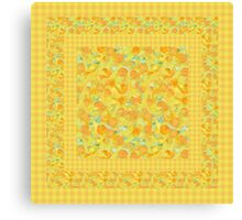 Watercolor Golden Daffodils and Matching Check Gingham Canvas Print