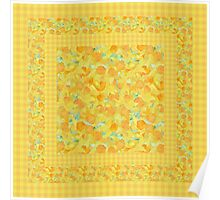 Watercolor Golden Daffodils and Matching Check Gingham Poster