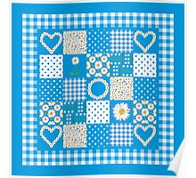 Daisy Chains Faux Patchwork and Check Gingham Poster