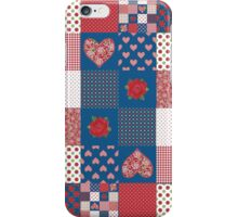 Hearts and Roses Faux Patchwork Pattern iPhone Case/Skin