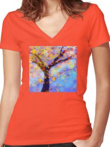 Falling Leaves  Women's Fitted V-Neck T-Shirt
