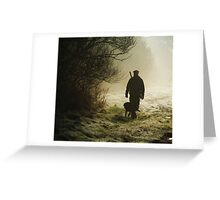 hunting pheasants on a misty morning  Greeting Card
