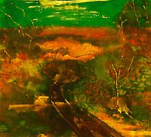 Towards Kilmore East VIC Australia (silk paint) by Margaret Morgan (Watkins)