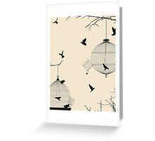 Birds and birdcages Greeting Card