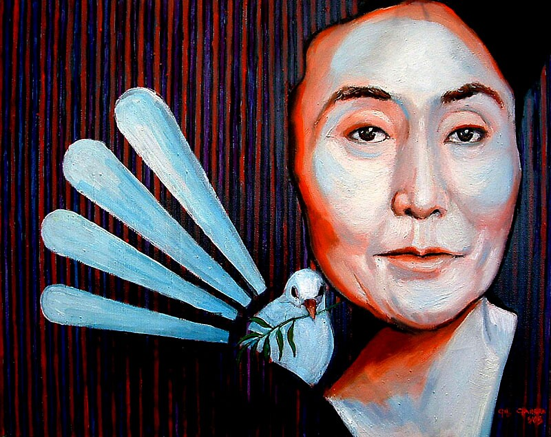 Portrait of Yoko Ono and the Dove of Peace by gilgarcia