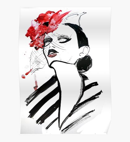 Woman with poppy fashion illustration Poster