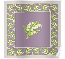 Art Nouveau Lily of the Valley Motif and Border on Mauve Poster