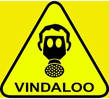 Funny Vindaloo Curry Gas Mask Yellow Warning Sign Photographic Print