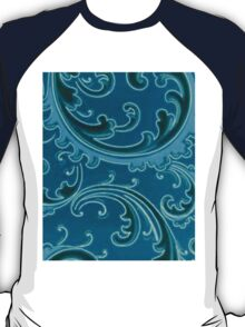 Vintage Swirls Curlicue Teal Turquoise Peacock T-Shirt