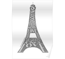Eiffel Tower - Faith, Hope, Love Poster