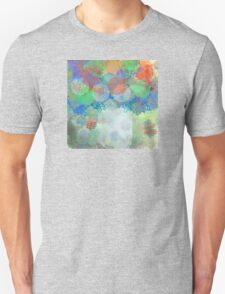 Decorative Flower Bouquet in Blue, Orange, Red, and Green T-Shirt