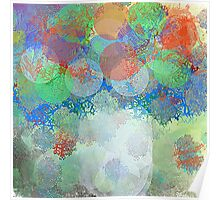 Decorative Flower Bouquet in Blue, Orange, Red, and Green Poster