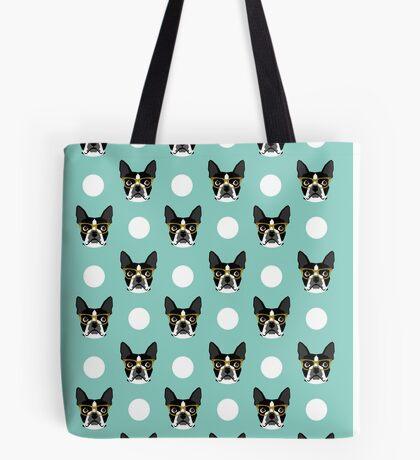 Logan - Boston Terrier pattern polka dots dog print gift for dog person dog lovers terrier custom Tote Bag