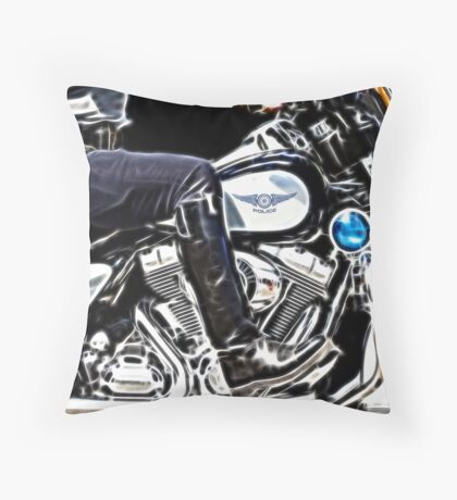 Motorcycle Cop Throw Pillow
