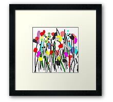 Fun Flowers in Bright Colors Framed Print