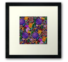 Flowers and Rainbows Pattern Framed Print