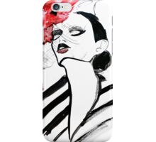 Woman with poppy fashion illustration iPhone Case/Skin