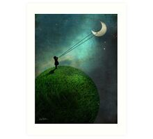Chasing the moon Art Print