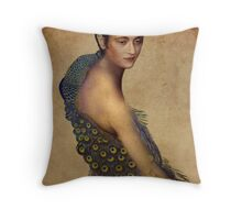 Peacock dress Throw Pillow