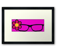 Geek Girl Black Glasses Pretty Colourful Flower Framed Print