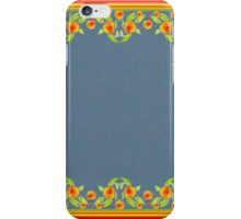 Country Style Marigolds Border on Indigo with Red Edging iPhone Case/Skin