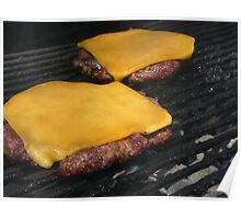 Cheeseburgers on a grill Poster