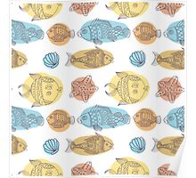 Fish vector seamless pattern Poster