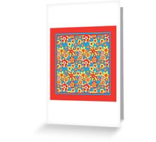 Ditzy Orange Flowers on Blue, Bright Red Border Greeting Card