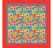 Ditzy Orange Flowers on Blue, Bright Red Border Photographic Print