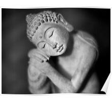 Black and white Buddha Poster