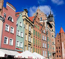 Gdansk, Poland renovated buildings near the old Town Hall by PhotoStock-Isra