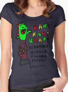 """""""Middle Finger Puppet"""" Women's Fitted Scoop T-Shirt"""