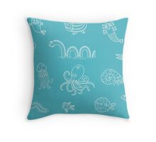 Happy Sea Monsters _Aqua Throw Pillow