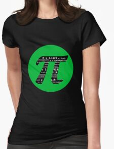 Pi Day graphic in green and black  Womens Fitted T-Shirt