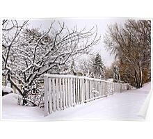 White Fence and Lots of Snow Poster