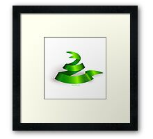 Green ribbon. Snake.  Framed Print