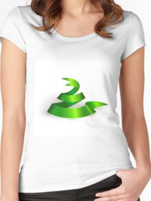 Green ribbon. Snake.  Women's Fitted Scoop T-Shirt
