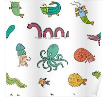 Happy Sea Monsters_ Multi Poster