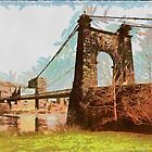 Wheeling Suspension Bridge, Spanning East channel of Ohio River  by Dennis Melling